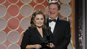 Roseanne Barr and John Goodman bring laughs to the Golden Globes